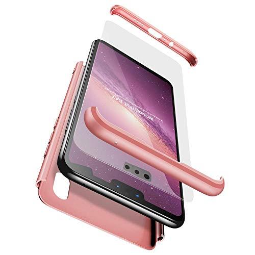 sigua Funda Compatible Xiaomi Mi A1, 3 in 1 Slim Fit Protectora Cover Caso Carcasa Choque Resistente 360 Grados Protección Ultra Slim Cubierta PC Hard Case + Cristal Templado,Oro Rosa