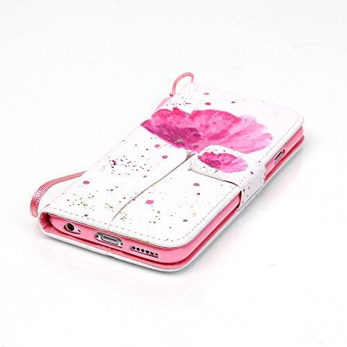 Hülle für iPhone 6 6S, Tasche für iPhone 6 6S, Case Cover für iPhone 6 6S, ISAKEN Malerei Muster Folio PU Leder Flip Cover Brieftasche Geldbörse Wallet Case Ledertasche Handyhülle Tasche Case Schutzhü Blume Pink