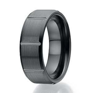8mm Contemporary Brick Design Black Ceramic Ring