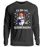 EBENBLATT Ich Bin das Glühweinhorn Einhorn Unicorn Wein Tasse Weihnachten 2018 Geschenkidee Geschenk - Unisex Pullover -S-Jet Schwarz