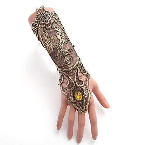T.w.o.teams Handgefertigte Vintage Gothic Vampire Slave Lace Armband Damen Spitzen Armband mit Ring