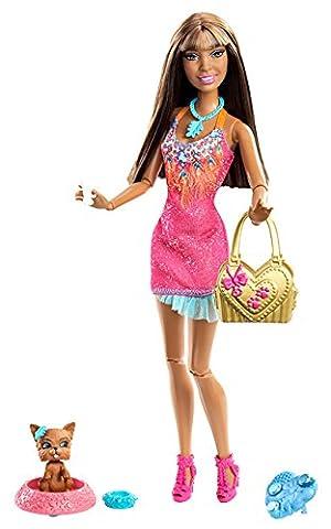 Mattel Barbie X2281 - Fashionistas Nikki, Puppe mit Hündchen und Ring