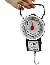 22,7kilogram mécanique écailles de poisson à suspendre avec 1m ruban à mesurer, multifonction Portable bagages Pêche Crochet Échelle avec ruban à mesurer