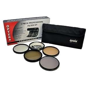Opteka 52mm - Ensemble de 5 filtres en verre (UV, Polarisant, Fluorescent, ND4 et macro close up +10) - Professionel MULTI-COATED