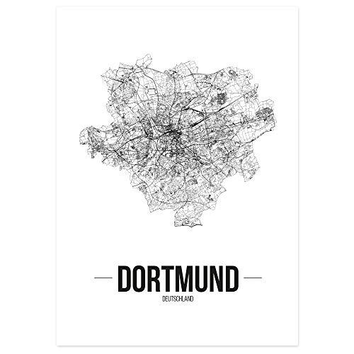 JUNIWORDS Stadtposter - Wähle Deine Stadt - Dortmund - 60 x 90 cm - Schrift B - Weiß