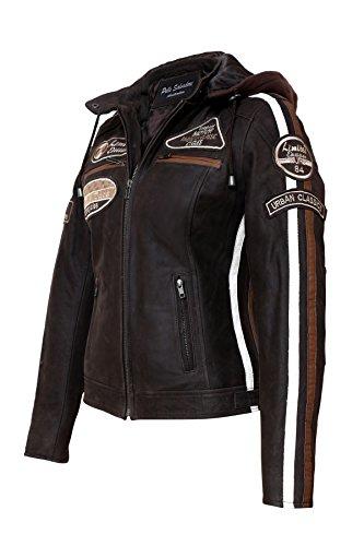 Damen Motorradjacke mit Protektoren, Braun, Große : S - 6
