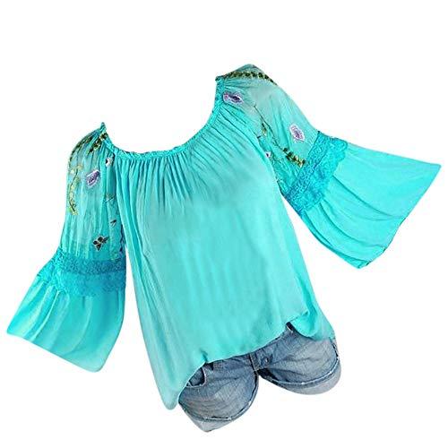 Bringbring Damen Bluse Floral Stickerei Trompete Ärmel Hemd Spitze Langarm Damenblusen Blusenshirt Oberteile Tops T-Shirt -