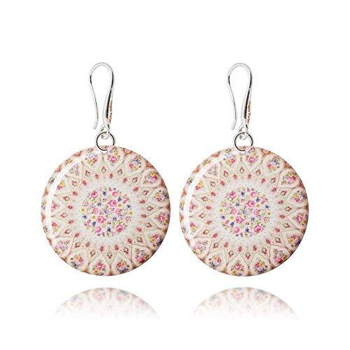 Romantische Crème-Pinkfarbene Ohrringe im Rosen-Design Schmuck für Damen