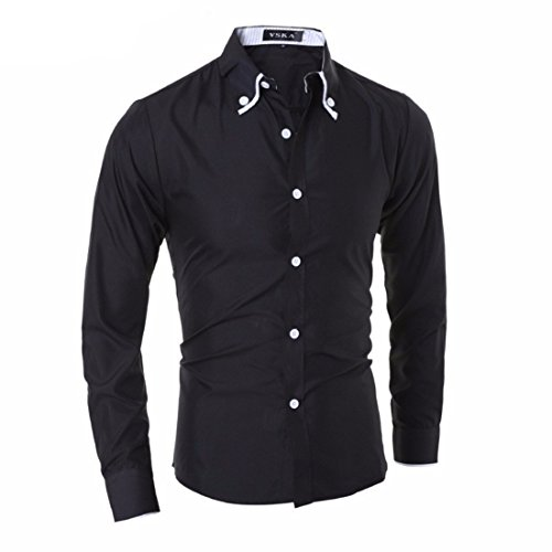 Men's Turndown Collar Long Sleeve Slim Fit Fancy Shirts Black