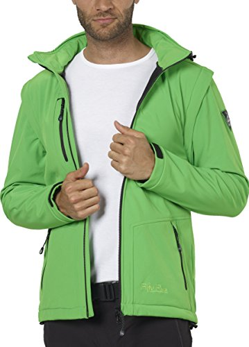 Fifty Five Herren Softshell-Jacke mit abtrennbaren Ärmel und Kapuze - Power green 4XL - Outdoor-Jacken mit FIVE-TEX Membrane für Outdoorbekleidung