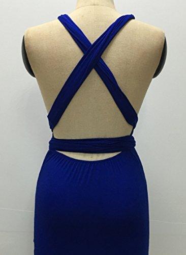 Blansdi Damen Bleistiftkleid V-Ausschnitt Etuikleid Bandage Rückenfrei Bodycon Trägerkleid Stretch Abendkleid Festlich Einfarbig Partykleid Cocktailkleid Blau