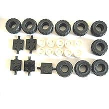 LEGO City - Ruedas con ejes y llantas (5 unidades) y plato de color rosa