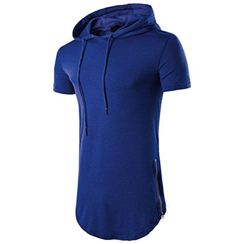 T Shirt Herren, HUIHUI Coole V-Ausschnitt Ärmellos Sweatshirt Slim Fit Basic uv Polo-Shirt Mode Sport Oberteile Oversize Bench Tops Hooded Sommer Freizeit Hemd Poloshirt (XL, Dunkelblau)