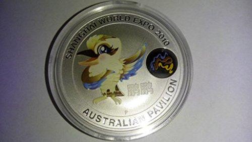 Echte Silbermünze Kookaburra (nicht nur versilbert), seltene Sondermünze mit Gewicht 1 Unze 1 oz = 31,1 Gramm coloriert farbig mit Vogel Kookaburra der Perth Mint Australien für die World Expo Shanghai (Mint Gewichte)