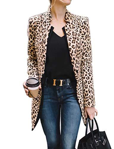 Frecicialo Chaqueta Blazers Larga Estampado Leopardo
