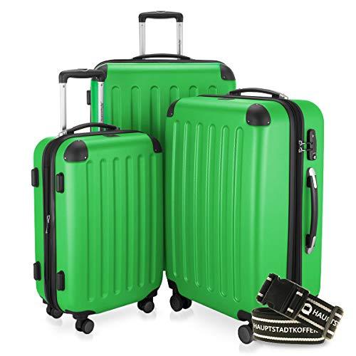 Hauptstadtkoffer - Spree - 3er-Koffer-Set Trolley-Set Rollkoffer Reisekoffer-Set Erweiterbar, TSA, 4 Rollen, (S, M & L), Apfelgrün inkl. Gepäckgurt