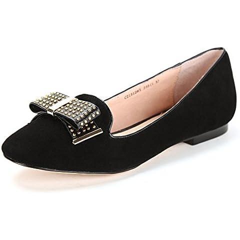 Rivetto vintage bow scarpe primavera/estate/Testa leggera scarpa in pelle-donna