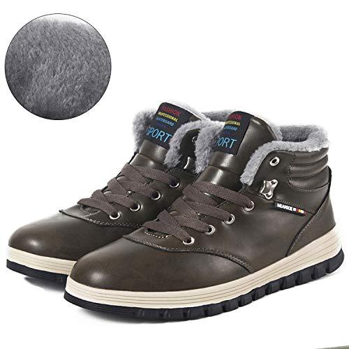 Herren Winterschuhe Warme Schneestiefel Gefüttert Outdoor Rutschfeste Stiefel Leder Knöchel Stiefel Wasserdicht Boots(Braun,47EU)