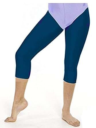 Girls /Ladies gymnastic/dance capri tights/three quarter length footless tights (4-6yrs, Navy)