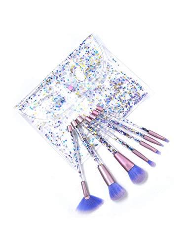 WZNB Makeup Brushes 7Pcs Pennelli Trucco Diamante Set Con Sacchetto Di Cristallo Trucco Pennello Kit Ombretto Contorno Pennello Polvere Quicksand Glitter