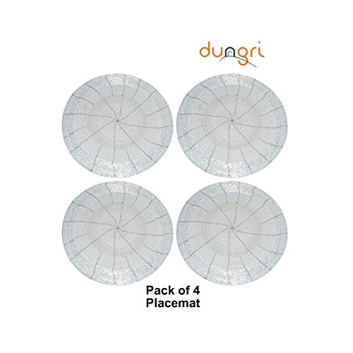 Packung von 4, Dungri ® HANDMADE BEADED PLACEMAT DIA 14