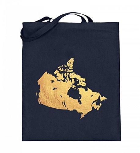 Hochwertiger Jutebeutel (mit langen Henkeln) - Jutebeutel Kanada Gold Deep Blue
