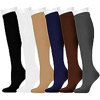 Gimitunus Bequem und leicht 6 Paar 15-20 mmHg Kompressionshülsen-Socken für Männer und Frauen Absolvierte athletische Unisex-Passform für Krankenschwester, Laufen, Flugreisen, Schienbeinschienen