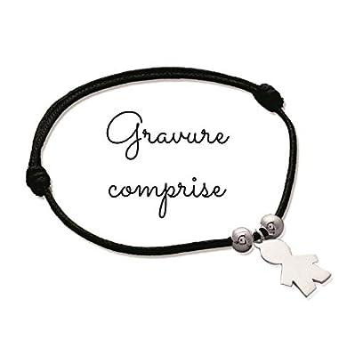 MELI MELOW bracelet sur cordon avec pendentif petit garçon en argent - gravure bijou personnalisé gravé