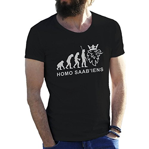 evolution-of-saab-lovers-nero-t-shirt-maglietta-per-uomo-xx-large