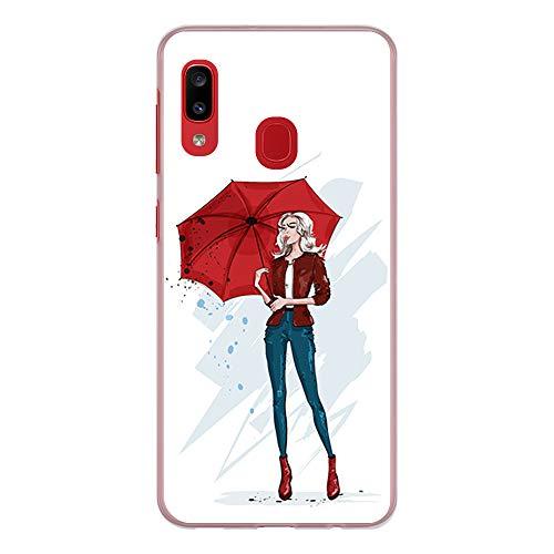 BJJ SHOP Transparent Hülle für [ Samsung Galaxy A20 / Samsung Galaxy A30 ], Klar Flexible Silikonhülle, Design: Stilvolles Mädchen und roter Regenschirm der Mode
