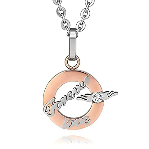 KnSam Women Stainless Steel Pendant Necklaces Ring Classic Polished Silver Rose Gold[Novelty Necklace]