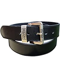 "Men's Black Leather Belt : Waist 28"" - 60"" : Made by Milano : Jeans / Trouser Belt"