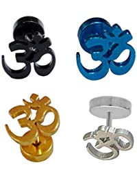 4e2c58786 Gadget Deals Om Gold,Black,Blue,Silver Single Stud Earring for Men Earing