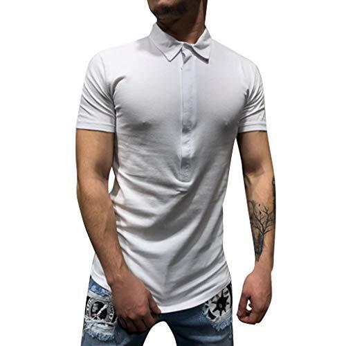 Eaylis Herren T-Shirt Knopf Einfarbig Kurzarmhemd, Revers Business-Stil Hemd Kurzarm, Erfolgreiche Person Muss