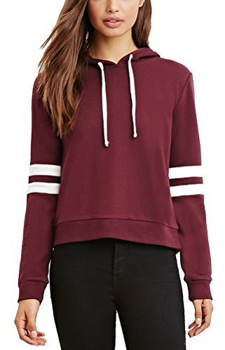 SMITHROAD Damen Sweatshirt mit Kapuze und Kordelzug Kurzer Hoodie Kapuzenpullover Hooded Sweater Weinrot S