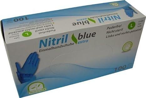 100 Einmalhandschuhe Puderfrei Nitril blue Extra Stark ...
