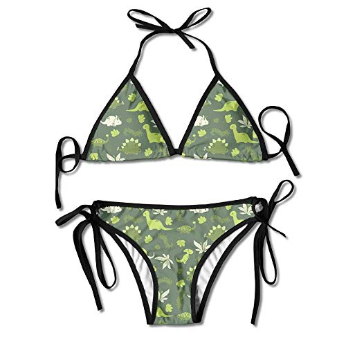c753d3a9f Sdltkhy Sexy Women Triangle Bikini SetGreen Print Padded Beach Suit  Spaghetti Strap Swimwear Low Waisted Swimsuit