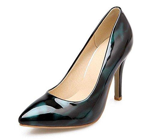 Donne Sandali estate Stampa Tacchi alti Court scarpe di cuoio Abito scarpe d'argento Blue