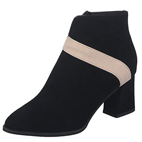 Bottes de Neige,Subfamily Mode Bottes à Talons Hauts Bottines Chelsea pour Femme Bottines Plates élégantes pour Femmes Boots Confortables Bottines pour Femme en Daim