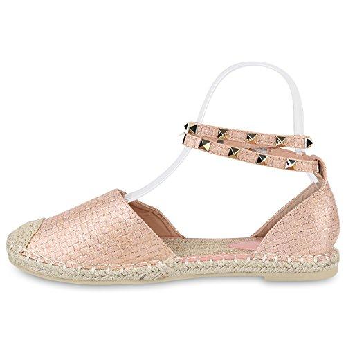 Damen Sandalen Espadrilles Blumen Pailletten Bast Sommer Schuhe Rosa Muster Nieten