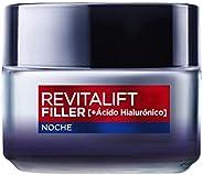 L'Oréal Paris Revitalift Filler Crema de Noche Revitalizante, Antiarrugas y Volumen, Anti-edad, Con Ácido