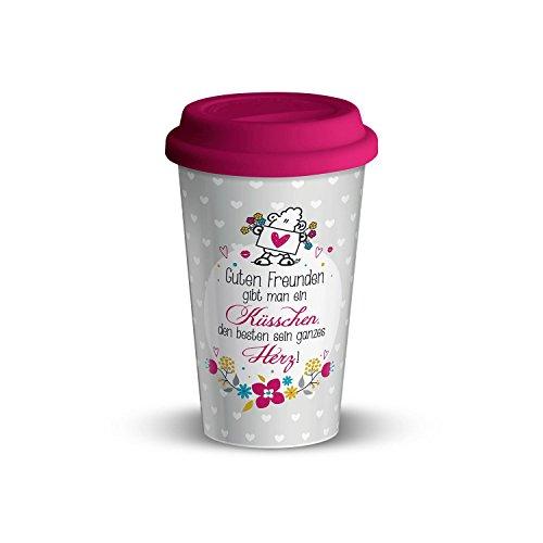 Die Geschenkewelt 44400 Becher mit sheepworld Motiv Guten Freunden gibt man ein Küsschen, Porzellan, 45 cl,mit Silikon-Deckel, rosa, mehrfarbig