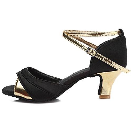 HIPPOSEUS Donna Ballroom Scarpe da ballo /sala da ballo scarpe/Scarpe da ballo latino standard di Raso,Modello-IT803 5CM Oro