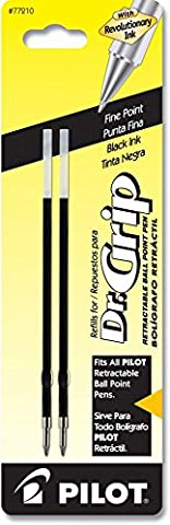 Pilot Dr. Grip Ballpoint Ink Refill, 2-Pack for Retractable Pens,