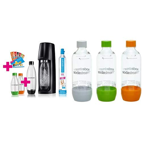 SodaStream Easy Wassersprudler-Set Vorteilspack mit CO2 Zylinder, 1L PET-Flasche, 2x 0,5L PET-Flasche und 6x Sirupproben und 3x 1 L PET-Flasche (bunt)