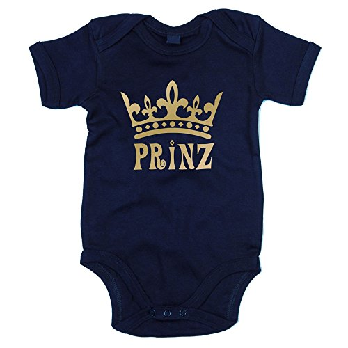 Baby Body - Prinz - von SHIRT DEPARTMENT, dunkelblau-gold, 62-68