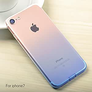 Egotude® Gradient Soft Silicone Slim Back Cover Case for Apple iPhone 7 & iPhone 8 Blue