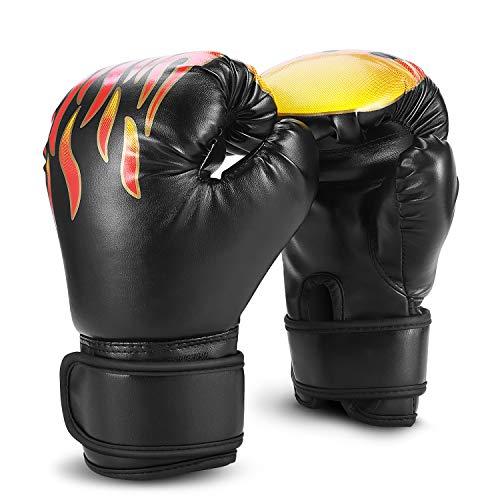 Flexzion - guantoni da boxe per bambini, multifunzione, con supporto avvolgente, ufc sparring kickboxing, attrezzatura sportiva per il fitness per ragazzi e bambine, colore: nero