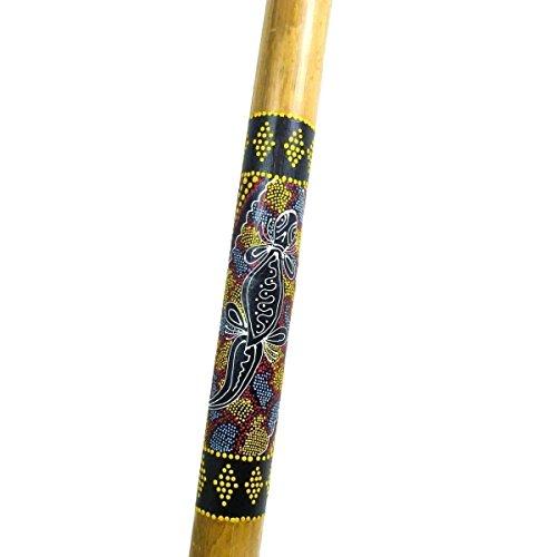 Didgeridoo Bambus Holz Aborigini bemalt geschnitzt Instrument fair Gecko Schildkröte Dot Painting (bemalt Gecko)