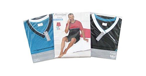 Moonline bequemes und modernes Herren Baumwoll-Shorty, verschiedene Modelle / mehrere Farben / Streifen / Motiv Blau/Marine